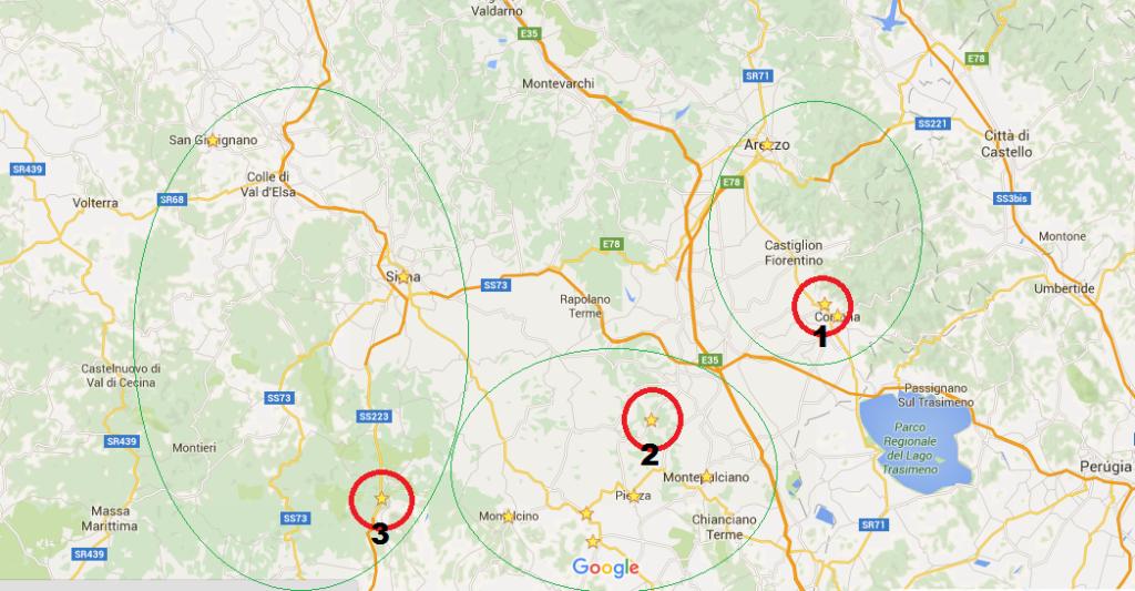 Mapa em detalhes Toscana