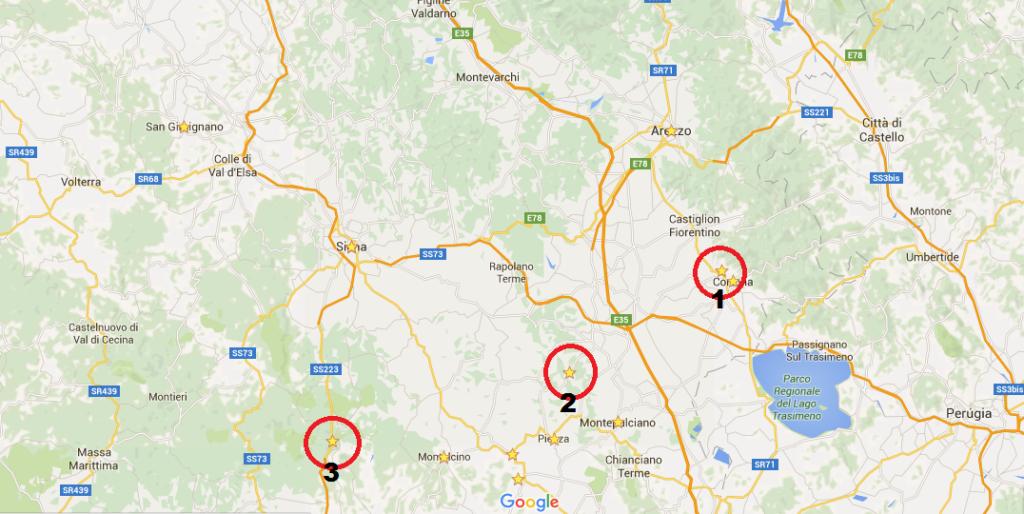 Mapa em detalhes Toscana.