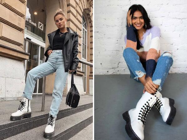dois look casuais com calça jeans e coturno branco