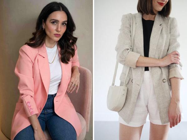 Duas fotos de looks com blazers de cores neutras