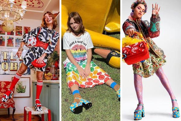 Três fotos de looks com sandália de plataforma estampada